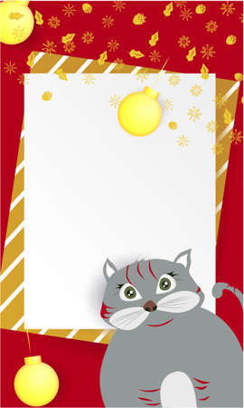 Christmas banner with cute, funny cartoon cat, golden snowflakes, Greeting Card, Christmas balls on a red background Stock Photo