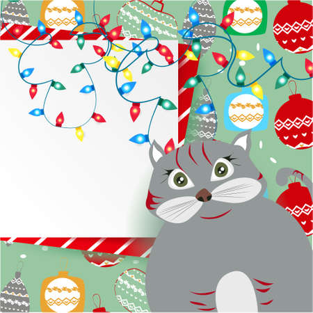 Christmas banner with cute, funny cartoon cat, Christmas lights, Greeting Card, Christmas balls on a blue background