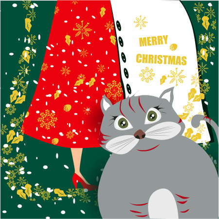 Merry Christmas banner with cute, funny cartoon cat, happy couple, golden snowflakes on a green background