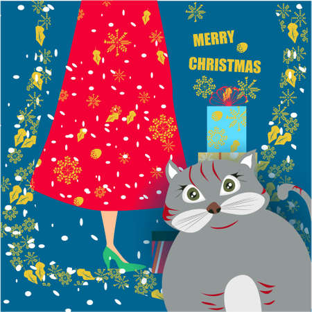 Merry Christmas banner with cute, funny cartoon cat, golden snowflakes, Girl with presents on a blue background