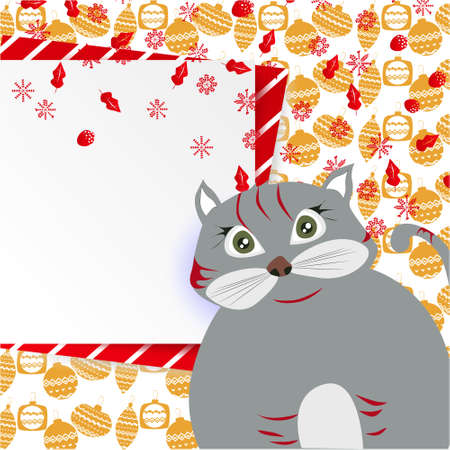 Christmas banner with cute, funny cartoon cat, snowflakes, Greeting Card, Christmas balls on abstract background