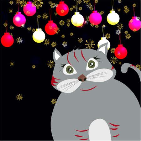 Christmas banner with cute, funny cartoon cat, Christmas balls, golden snowflakes on a dark background