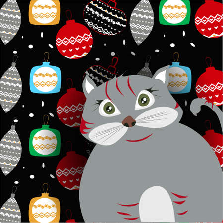 Christmas banner with cute, funny cartoon cat, Christmas balls on a dark background