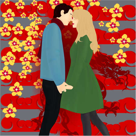 Banner with happy couple on abstract background in Chinese style with dragon and flowers