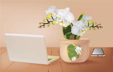 Banner with Orchid in a vase, laptop, smartphone on a wooden table