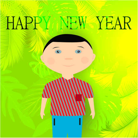 Christmas banner with cute, funny, cartoon boy on abstract background with exotic leaves