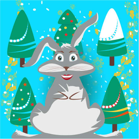 Christmas banner with cute, funny, cartoon bunny and Christmas Trees, snowflakes on a blue background