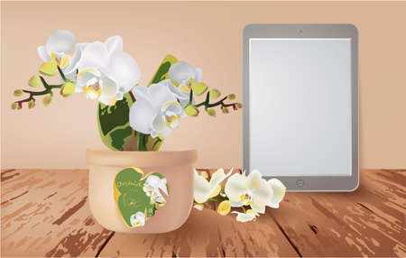 Banner with Orchid in a vase, tablet on a wooden table Stock fotó