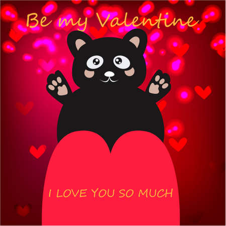 Be my Valentine Greeting Card with cute, funny bear in Kawaii style on abstract background Stock Photo