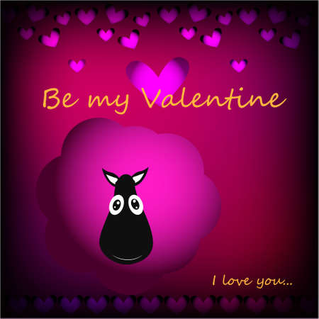 Be my Valentine Greeting Card with cute, funny sheep in Kawaii style on abstract background