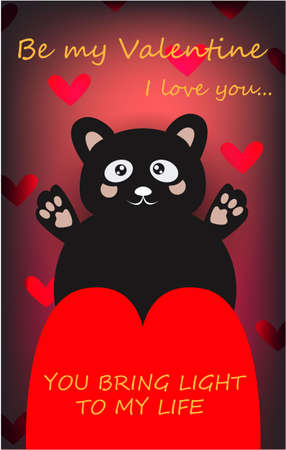 Be my Valentine Greeting Card with cute, funny bear in Kawaii style on abstract background with hearts
