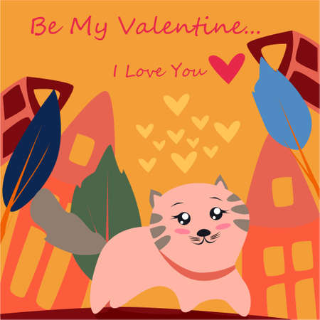 Be my Valentine banner with cute cat in Kawaii style, house, trees and hearts on a yellow background