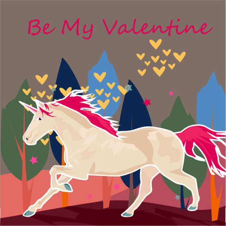 Be my Valentine banner with cute Unicorn, trees and hearts on a gray background