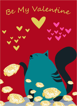 Be my Valentine banner with cute cat, fish and hearts on a red background