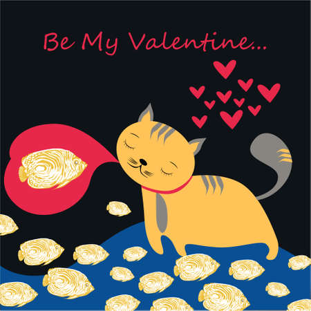 Be my Valentine banner with cute cat in Kawaii style, fish and hearts on a dark background Stock Photo