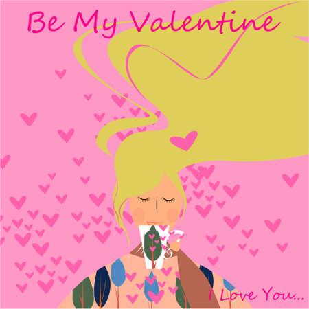 Be my Valentine banner with cute girl with cup, hearts on a pink background