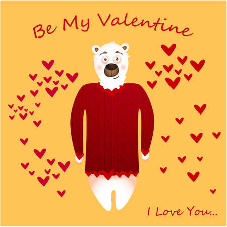 Be my Valentine banner with cute bear and hearts on a yellow background