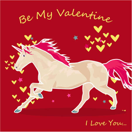 Be my Valentine banner with cute Unicorn and hearts on a red background