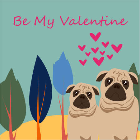 Be my Valentine banner with cute pugs, trees and hearts on a blue background