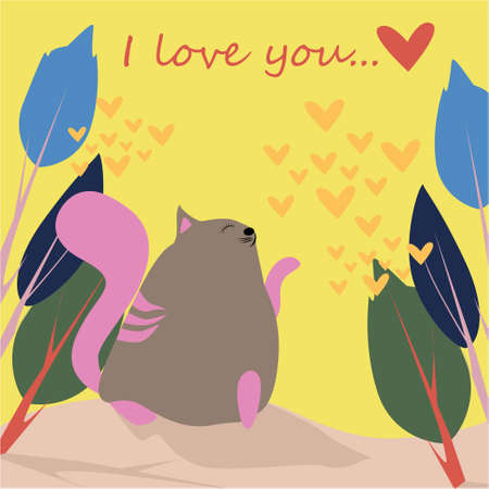I love you banner with cute cat in Kawaii style, trees and hearts on a yellow background Stock Photo