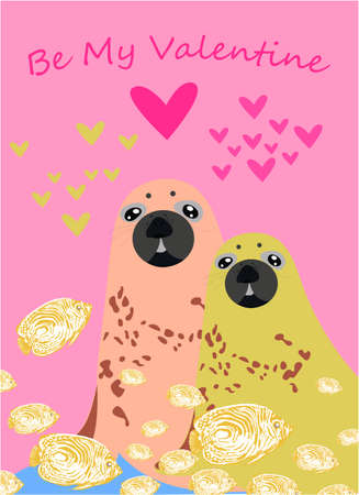 Be my Valentine banner with cute fur seal in Kawaii style, fish and hearts on a pink background