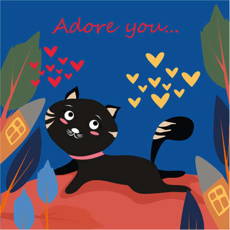 Adore you banner with cute cat in Kawaii style, house and trees on a blue background