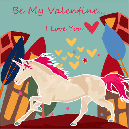 Be my Valentine banner with cute Unicorn, house and trees on a blue background