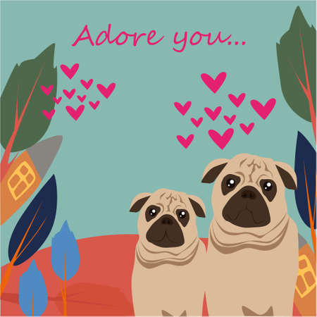 Adore you banner with cute pugs, house and trees on a blue background
