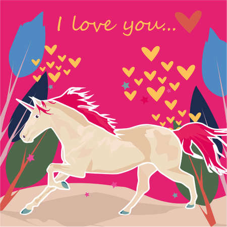 I love you banner with cute Unicorn, trees and hearts on a pink background Stock Photo