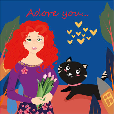 Adore you banner with cute girl with tulips and cat in Kawaii style, house, trees and hearts on a blue background Illustration