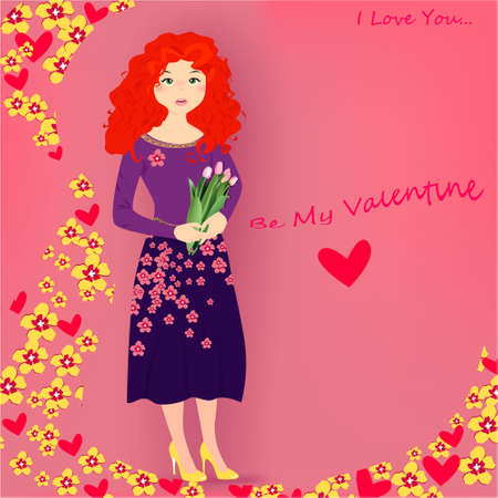 Be my Valentine banner with cute girl with tulips, hearts, flowers on a pink background