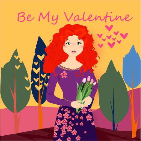 Be my Valentine banner with cute girl with tulips, trees and hearts on a yellow background Illustration