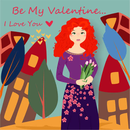Be my Valentine banner with cute girl with tulips, house, trees and hearts on a blue background