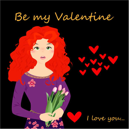 Be my Valentine banner with cute girl with tulips, hearts on a dark background