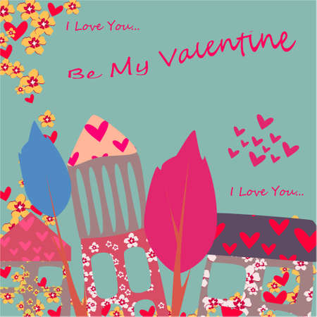 Be my Valentine banner with house, trees and hearts on a blue background. Greeting card, illustration