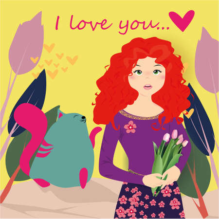 I love you banner with cute girl with tulips and cat in Kawaii style, trees and hearts on a yellow background