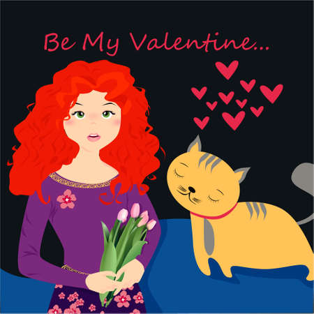 Be my Valentine banner with cute girl with tulips and cat in Kawaii style, hearts on a dark background