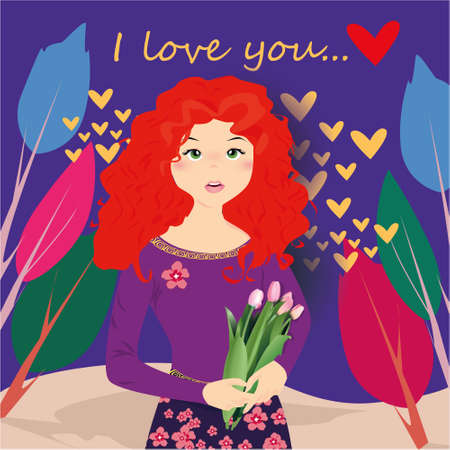 I love you banner with cute girl with tulips, trees and hearts on a purple background