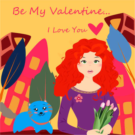 Be my Valentine banner with cute girl with tulips and cat in Kawaii style, house, trees and hearts on a yellow background