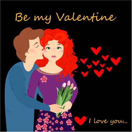 Be my Valentine banner with happy couple, hearts on a dark background. Happy Valentines day, greeting card, illustration Illustration