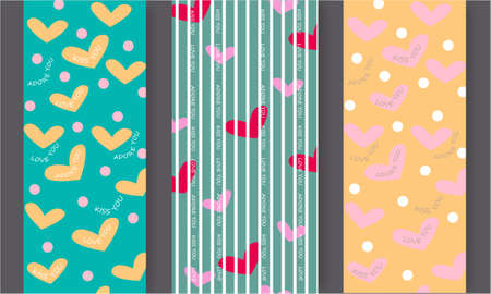 Set of patterns for Happy Valentines day with hearts, text, dots on a gray background Illustration