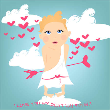 I love you my dear Valentine banner with cute, funny cartoon cupid, arrow with heart, clouds on a blue background with hearts Stock Photo