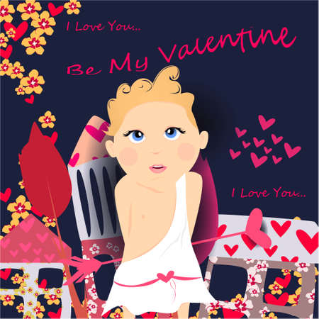 Be my Valentine banner with cute, funny cartoon cupid, arrow with heart on a dark background with hearts, house and flowers