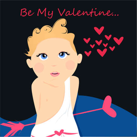Be my Valentine banner with cute, funny cartoon cupid, arrow with heart on a dark background with hearts