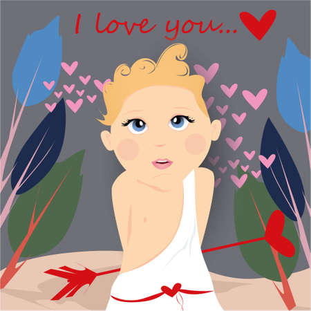 I love you banner with cute, funny cartoon cupid, arrow with heart on a gray background with hearts and trees
