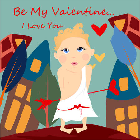 Be my Valentine banner with cute, funny cartoon cupid, arrow with heart on a blue background with trees and house