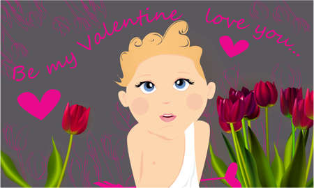 Be my Valentine banner, greeting card, illustration for Valentines day with cute, funny cartoon cupid with an arrow, flowers and a heart on a gray background