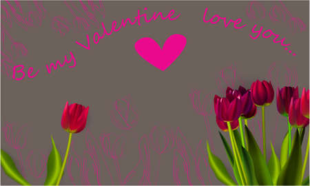 Be my Valentine, greeting card, illustration for Valentines day with flowers and a heart on a gray background