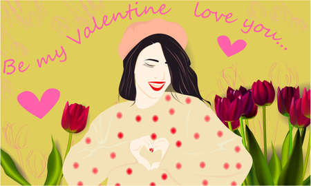 Be my Valentine banner, greeting card, illustration for Valentines day with cute, funny cartoon girl, flowers and hearts on a green background
