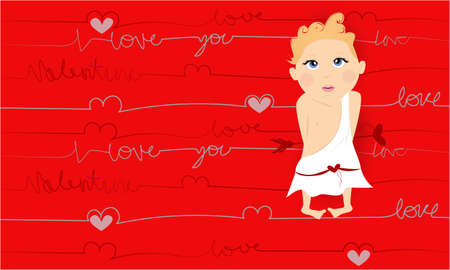 Love you banner , greeting card, illustration for Valentines day with cute, funny cartoon cupid with an arrow on abstract background Stock Photo